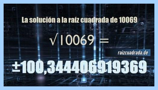 Resultado obtenido en la resolución raíz cuadrada de 10069