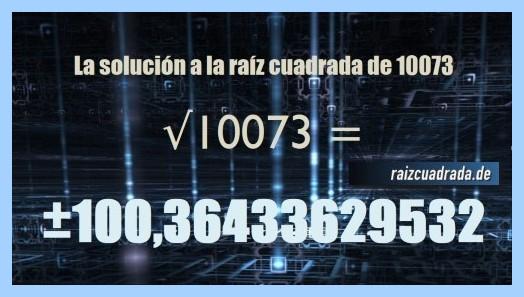 Resultado que se obtiene en la raíz cuadrada del número 10073