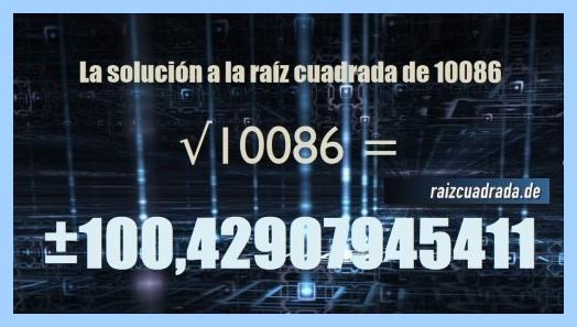 Solución conseguida en la raíz cuadrada del número 10086