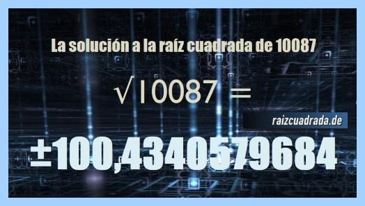 Solución final de la resolución operación matemática raíz de 10087