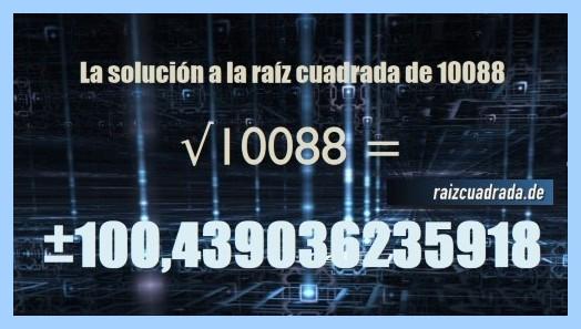 Resultado finalmente hallado en la raíz cuadrada del número 10088
