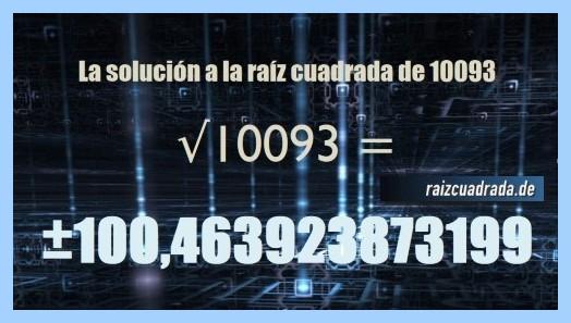 Solución final de la operación matemática raíz cuadrada de 10093