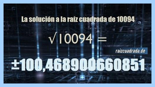 Resultado conseguido en la resolución operación matemática raíz del número 10094