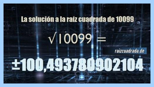 Número obtenido en la resolución operación matemática raíz del número 10099