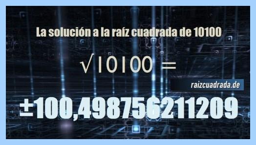 Número obtenido en la resolución raíz cuadrada del número 10100
