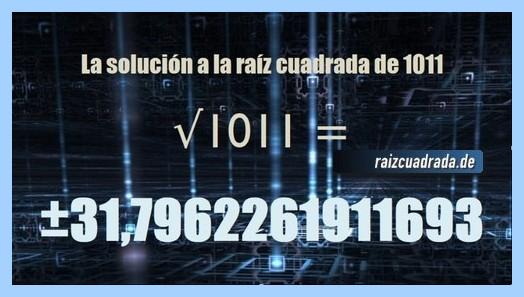 Solución obtenida en la resolución operación matemática raíz de 1011