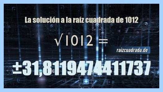 Solución final de la raíz del número 1012