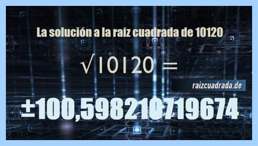 Resultado finalmente hallado en la raíz cuadrada de 10120