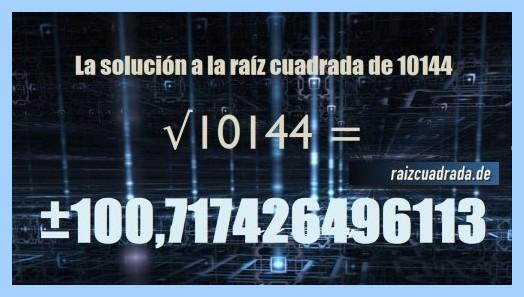 Número conseguido en la resolución operación matemática raíz de 10144