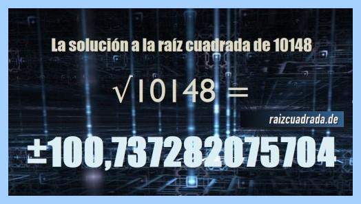 Solución que se obtiene en la raíz del número 10148