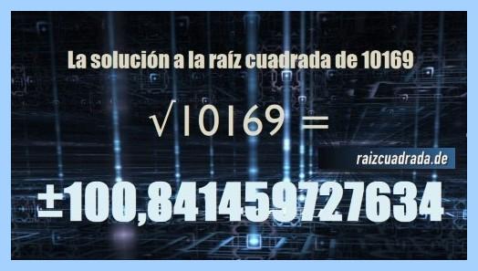 Número que se obtiene en la operación matemática raíz de 10169