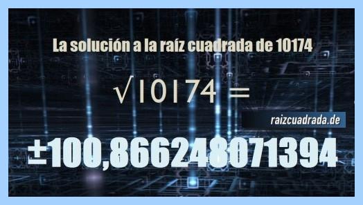 Resultado finalmente hallado en la raíz del número 10174