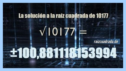 Solución finalmente hallada en la resolución operación raíz del número 10177