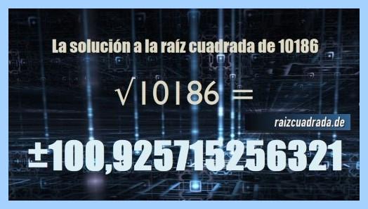 Solución final de la raíz cuadrada de 10186