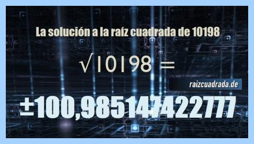 Número conseguido en la operación raíz del número 10198
