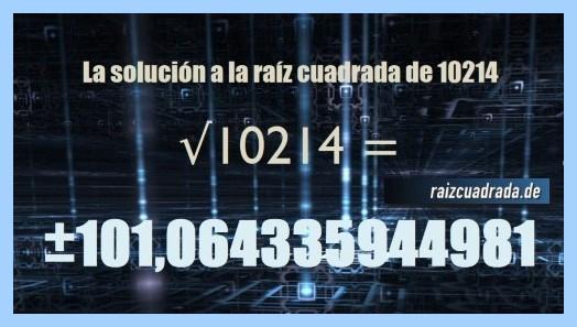 Solución conseguida en la resolución operación matemática raíz de 10214