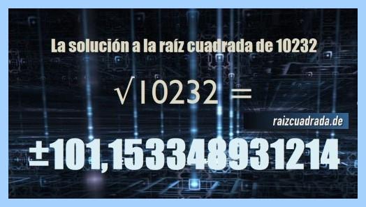 Solución conseguida en la operación raíz cuadrada del número 10232