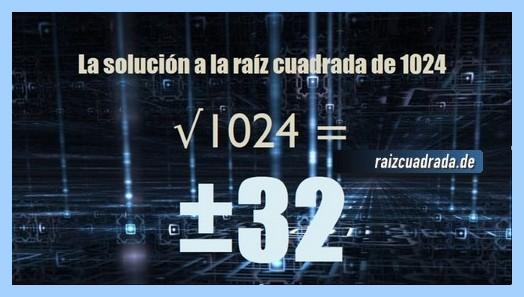 Solución que se obtiene en la resolución operación matemática raíz cuadrada del número 1024
