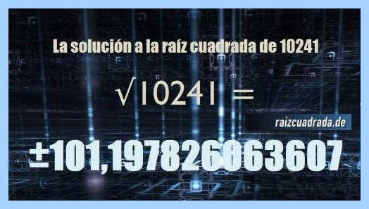 Resultado final de la operación raíz cuadrada de 10241