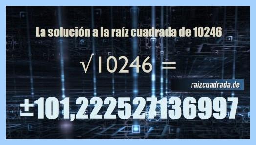 Resultado finalmente hallado en la resolución raíz cuadrada de 10246