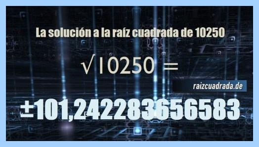 Solución que se obtiene en la resolución raíz del número 10250