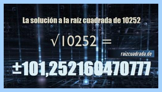 Solución conseguida en la resolución operación raíz de 10252