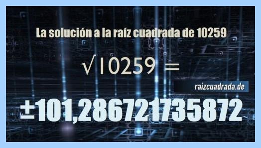Resultado que se obtiene en la resolución raíz cuadrada de 10259
