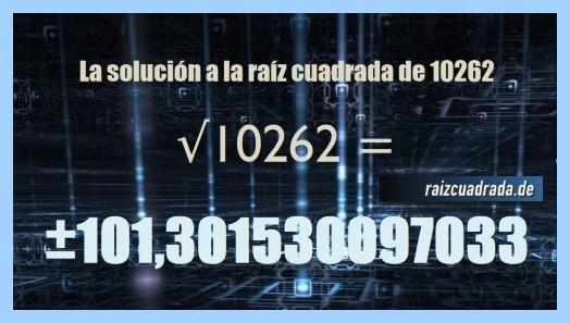 Número final de la operación raíz cuadrada del número 10262
