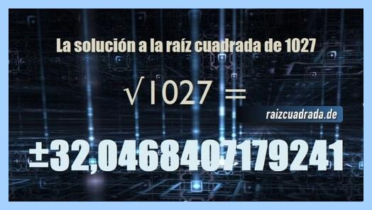 Solución final de la operación matemática raíz de 1027