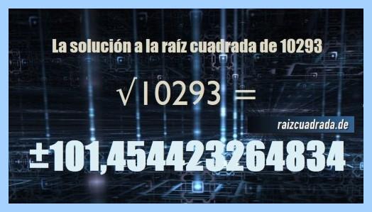 Solución obtenida en la resolución operación matemática raíz cuadrada de 10293