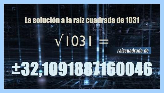 Solución obtenida en la raíz cuadrada de 1031