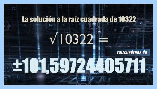 Solución final de la resolución raíz cuadrada de 10322
