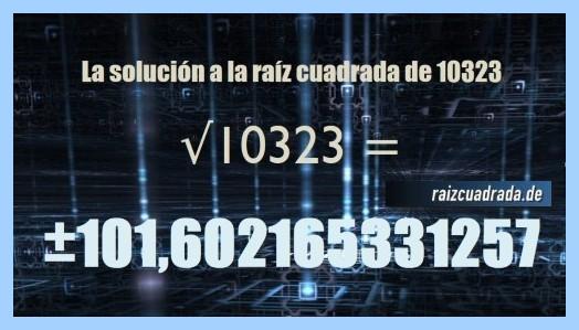 Solución que se obtiene en la resolución operación raíz cuadrada de 10323