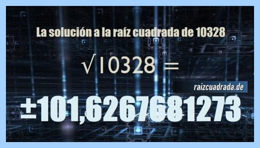 Solución finalmente hallada en la resolución raíz cuadrada de 10328