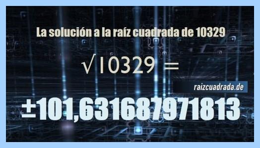 Solución que se obtiene en la raíz cuadrada de 10329