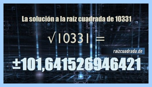 Solución final de la raíz cuadrada del número 10331
