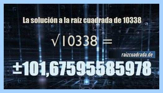 Resultado que se obtiene en la resolución operación matemática raíz del número 10338
