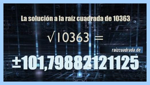Solución obtenida en la raíz de 10363