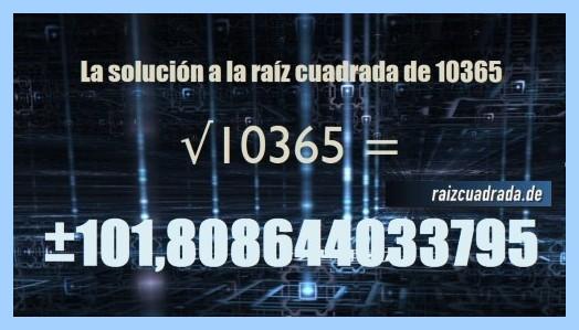 Solución finalmente hallada en la raíz cuadrada del número 10365