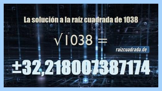 Solución finalmente hallada en la operación matemática raíz cuadrada del número 1038