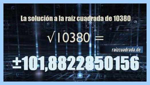 Solución que se obtiene en la operación raíz de 10380