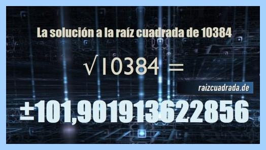 Solución que se obtiene en la operación raíz cuadrada del número 10384