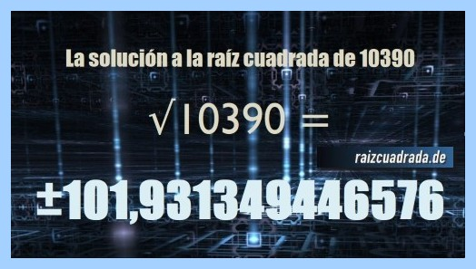 Número obtenido en la raíz cuadrada del número 10390