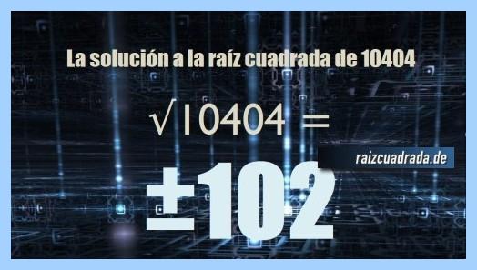 Solución obtenida en la resolución raíz cuadrada del número 10404