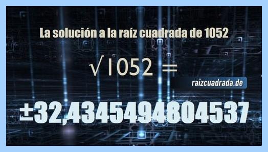 Solución finalmente hallada en la resolución operación raíz cuadrada de 1052