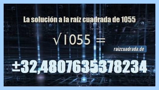 Resultado conseguido en la resolución operación raíz cuadrada de 1055
