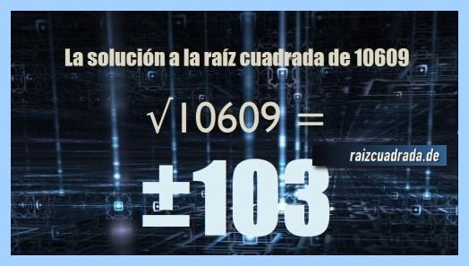 Solución conseguida en la operación raíz del número 10609