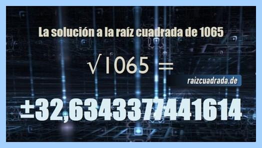 Resultado conseguido en la resolución operación raíz cuadrada del número 1065