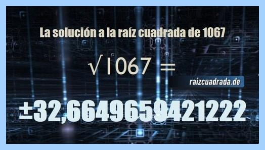 Resultado conseguido en la resolución operación matemática raíz cuadrada de 1067