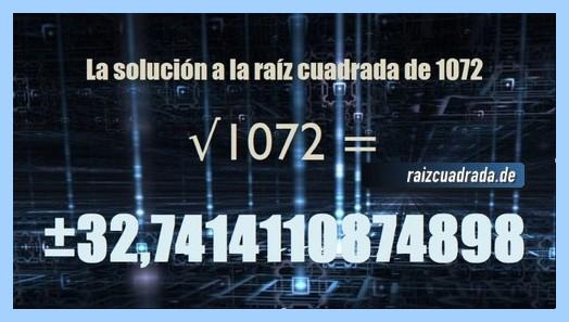 Número finalmente hallado en la resolución raíz cuadrada del número 1072